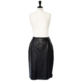 Black leather high waisted skirt Size 38