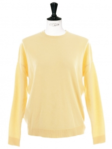 Pale yellow cashmere crew neck sweater Retail price €700 Size 34/36