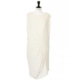 Robe sans manches asymétrique en crêpe de soie et dentelle ivoire Px boutique 950€ Taille 38