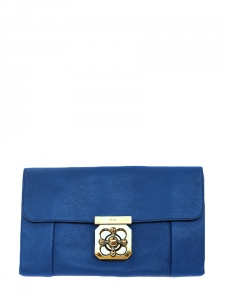 Pochette clutch ELSIE en cuir grainé bleu cobalt Px boutique 750€