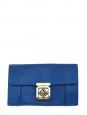 Pochette clutch ELSIE en cuir grainé bleu cobalt Px boutique 850€