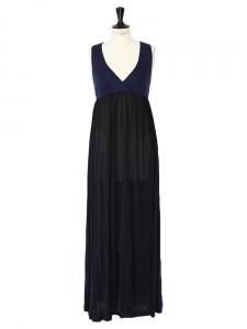 Robe sans manches en laine bleu marine et soie noire Px boutique 1500€ Taille 38