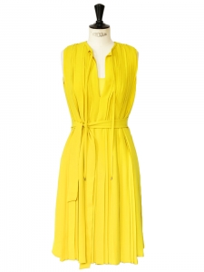 MISSY LILY Lemon yellow pleated crepe dress Retail price €738 NEW Size 34/36