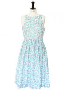Robe sans manches imprimé floral vert rose et blanc Taille 36