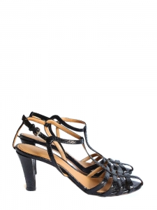 bfaf43a7dd25 Black python leather sandals Retail price €590 Size 36.5