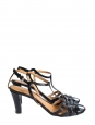 Black ayers leather heel sandals with ankle strap Retail price €590 Size 36