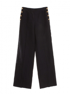 Navy blue linen sailor pants with golden buttons Retail price €1500 Size 36