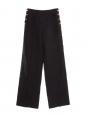 Pantalon ample taille haute à pont en lin bleu marine et boutons dorés Px boutique 1500€ Taille 36