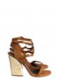 Tan suede leather, white patent leather and cork thick heel ankle strap sandals Retail price €700 NEW Size 37