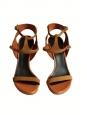 Sandales à talons et bride cheville en suede camel, cuir verni blanc et liège Px boutique 700€ Taille 37