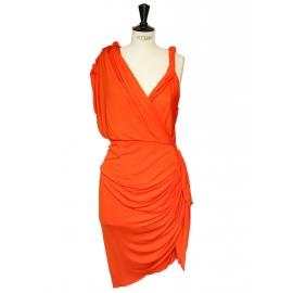 Robe de cocktail drapée orange style grec Px boutique 2050€ Taille 38