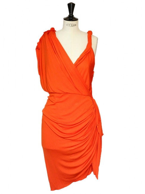 Orange draped Grecian cocktail dress Retail price €2050 Size 38