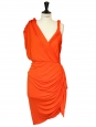 Orange draped Grecian cocktail dress Retail price €2050 Size 38