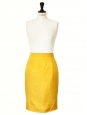 Saffron yellow silk high waist pencil skirt Retail price €850 Size 34