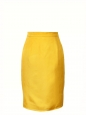 Saffron yellow silk high waist pencil skirt Size 34