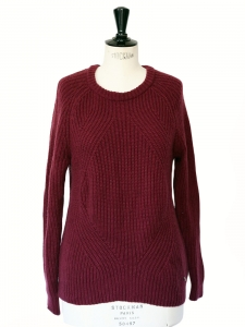 Burgundy wool and cashmere heavy knitted jumper Retail price €180 Size 36