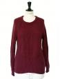 Pull en grosse maille de laine et cachemire bordeaux prune Px boutique 180€ Taille 36