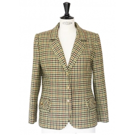 Veste blazer en laine imprimée écossais tons d'automne Taille 40
