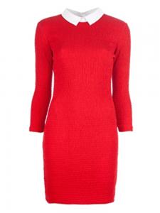 Robe PETIT BATEAU x CARVEN en coton smocké rouge et col blanc Px boutique 250€ Taille 36
