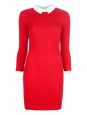 PETIT BATEAU x CARVEN Red contrast collar smocked cotton dress Retail price $370 Size L