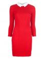 Robe PETIT BATEAU x CARVEN en coton smocké rouge et col blanc Px boutique 250€ Taille L
