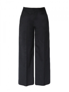 Wide-leg straight cut high waisted pants in black wool Retail price €650 Size 36