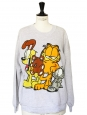 Heather light grey GARFIELD print oversized sweater