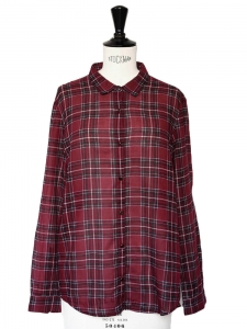 Red plaid check printed cotton chiffon shirt Retail price €155 Size 36