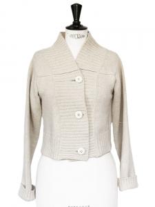 Gilet court en grosse maille de laine écru Px boutique 900€ Taille 38