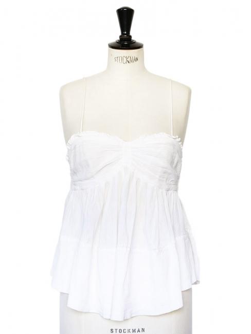 White cotton gaze thin straps top Retail price €180 Size 38
