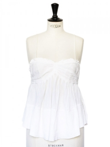 White cotton gaze thin straps top Retail price €180 Size 38