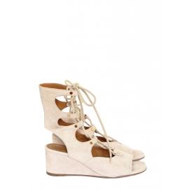 Sandales compensées FOSTER en daim beige nude à lacets Prix boutique 750€ Taille 36,5