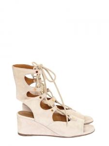 Sandales compensées FOSTER en daim beige nude à lacets Px boutique 750€ Taille 36,5