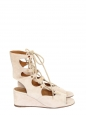 FOSTER Nude beige suede lace-up wedge sandals Retail price €750 Size 36.5