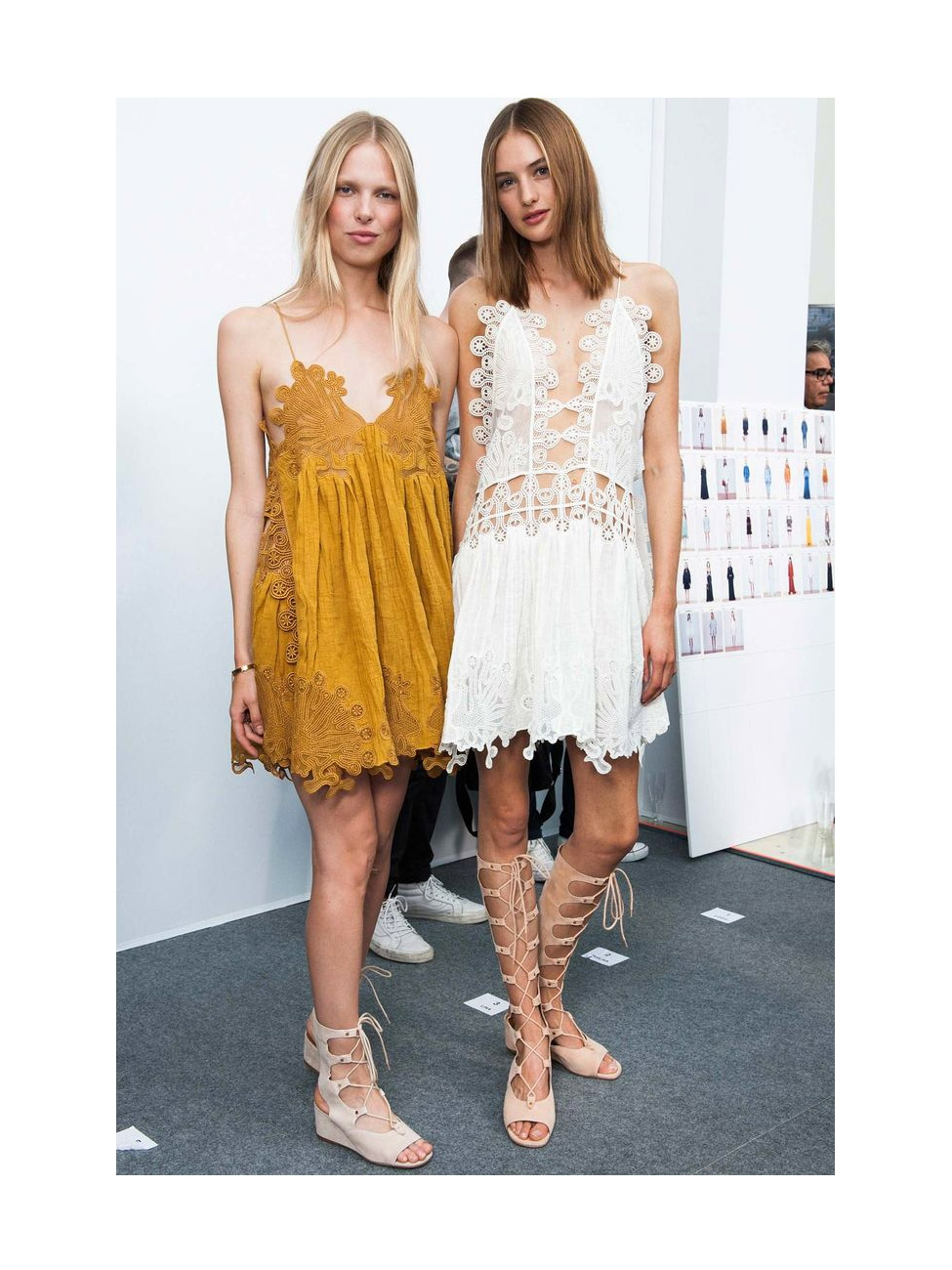 a168fd85198 Louise Paris - CHLOE FOSTER Nude beige suede lace-up wedge sandals Retail  price €750 Size 36.5