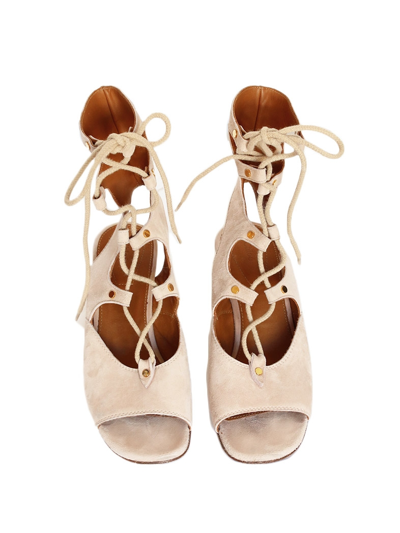 Louise Paris Chloe Foster Nude Beige Suede Lace Up Wedge