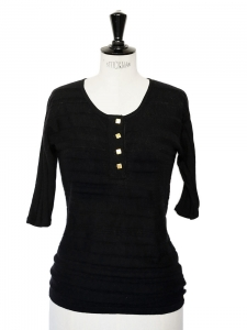 Black cashmere short sleeves top with golden buttons Retail price €450 Size 36