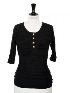 Top manches courtes en cachemire noir et boutons dorés Px boutique 450€ Taille 36