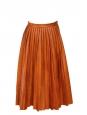 Jupe ASLA longue plissée en faux cuir marron caramel Px boutique 395€ Taille 34