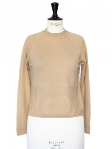 Camel beige silk and cashmere turtleneck sweater Size 34