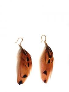 Boucles d'oreilles en plumes de faisan et coq gaulois roux ocre noir noisette NEUVES