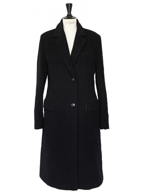 Manteau long en laine vierge et angora noir Px boutique 800€ Taille 40