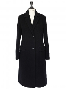 Black angora and virgin wool felt long coat Retail price €800 Size 40