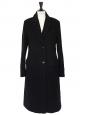 Black angora and virgin wool felt long coat Retail price €800 Size 40