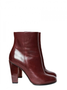 dafb79906c33b2 Bottines montantes à talon bois en cuir bordeaux Px boutique 700€ ...