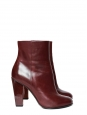 Burgundy leather and wooden heel high ankle boots Retail price €700 Size 36