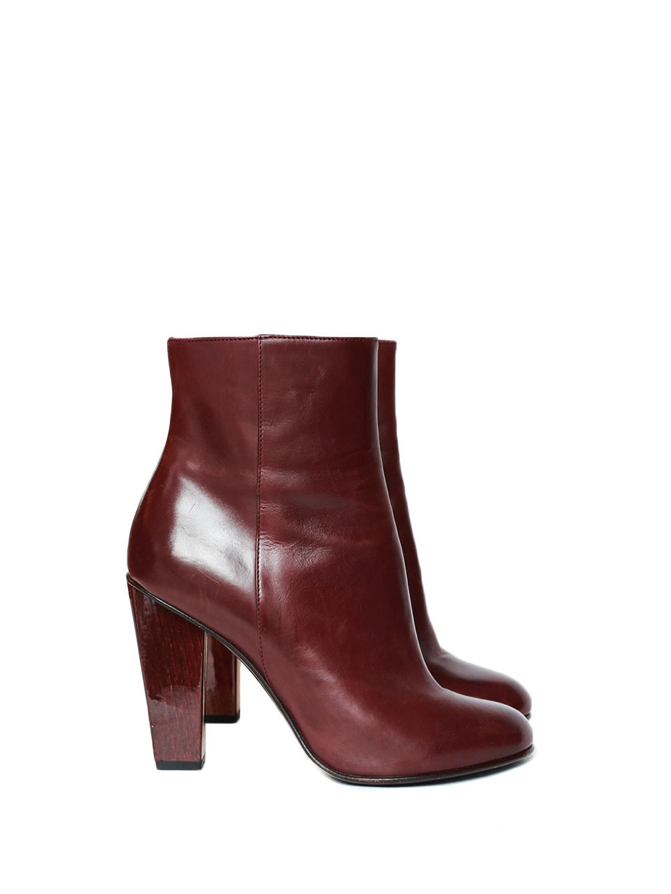 bb5c95f49b8b Burgundy leather and wooden heel high ankle boots Retail price €700 Size 36