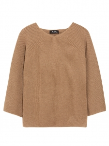 Camel hair fine ribbed knit sweater Retail price €240 Size M