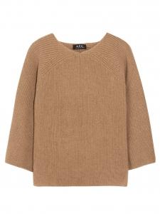 Pull en maille côtelée de camel hair marron caramel Px boutique 240€ Taille 38