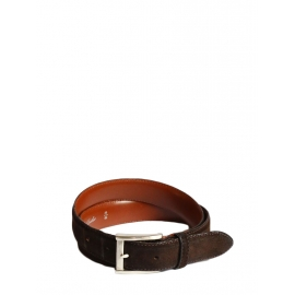 Dark brown suede and leather belt with silver buckle Size S